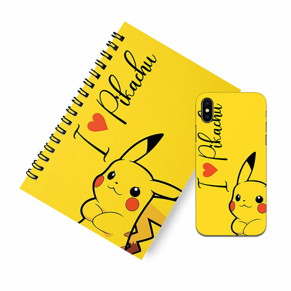 I Love Pikachu A5 Spiral Notebook Case Combo