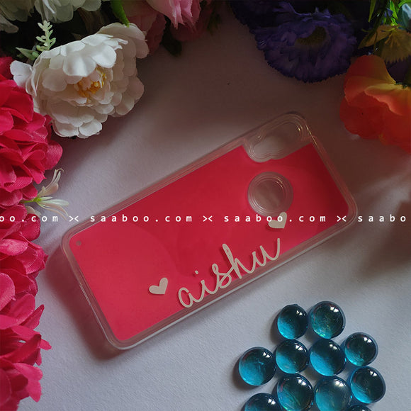 Pink Neon Sand Glow Case With Unicorn Heart Font