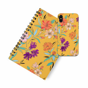 Yellow Floral A5 Spiral Notebook Case Combo