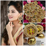 Yellow Cluster Pearl Mehndi Plated Earring