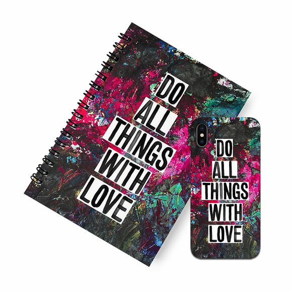 Do all  things with love A5 Spiral Notebook Case Combo