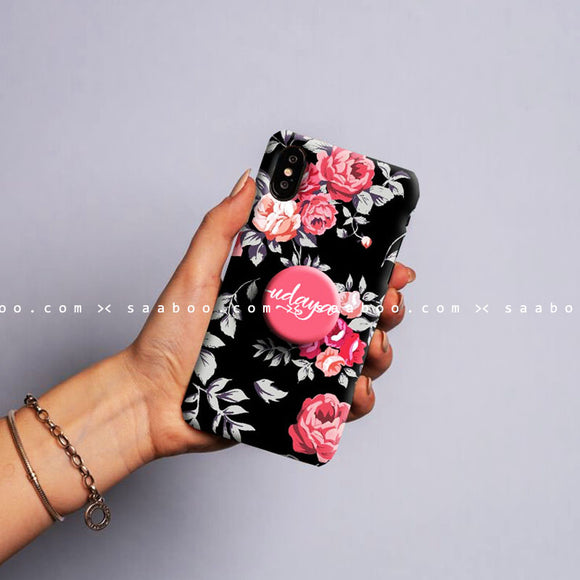 Gripper Case With Pink & black Floral