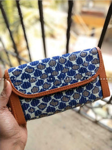 Ikat Two Pocket Wallet with Blue and White