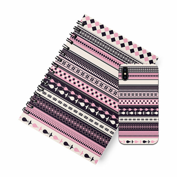 Purple tribal A5 Spiral Notebook Case Combo