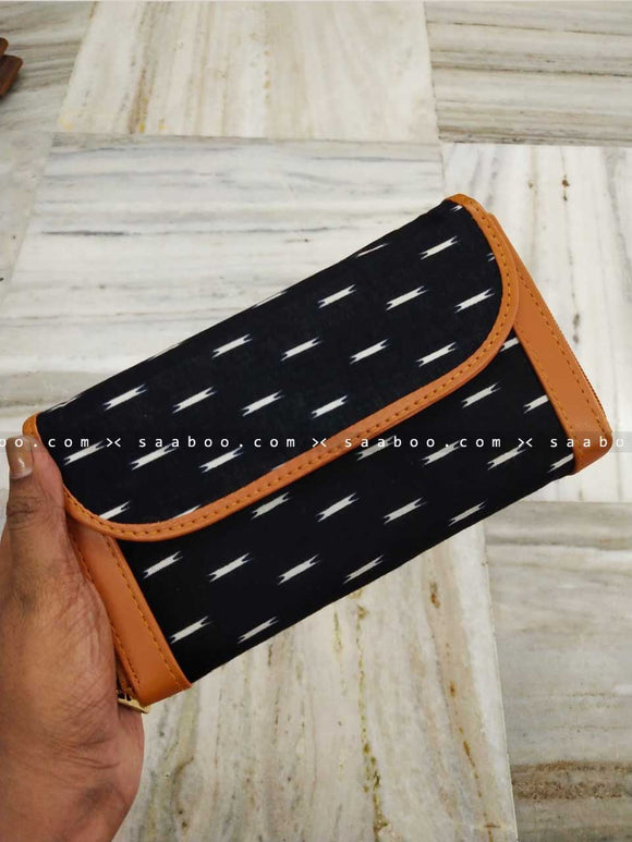 Ikat Two Pocket Wallet with Black White Design