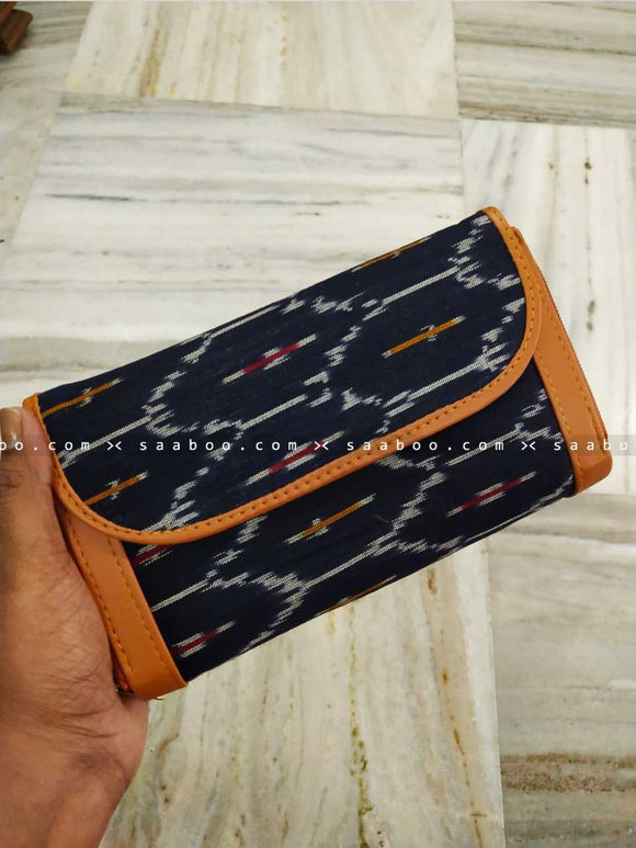 Ikat Two Pocket Wallet with Blue Ikat Design