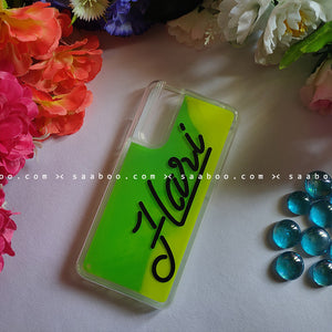 Green Neon Sand Glow Case With Line Font