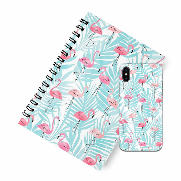 Flamingo blue A5 Spiral Notebook Case Combo