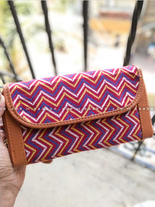 Ikat Two Pocket Wallet with Maroon Line Ikat Design
