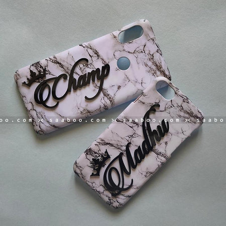 Couple Cases - saaboo - Couple Cases White Marble Name