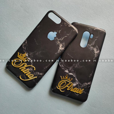 Couple Cases - saaboo - Couple Cases Black Marble Name