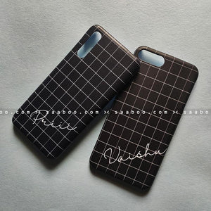 Couple Cases - saaboo - Couple Cases Black Checked Name