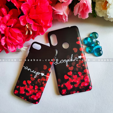 Couple Cases Red Hearts Name Cases