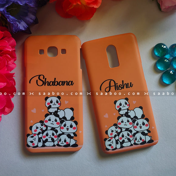 Couple Cases Pandas Orange Name Cases