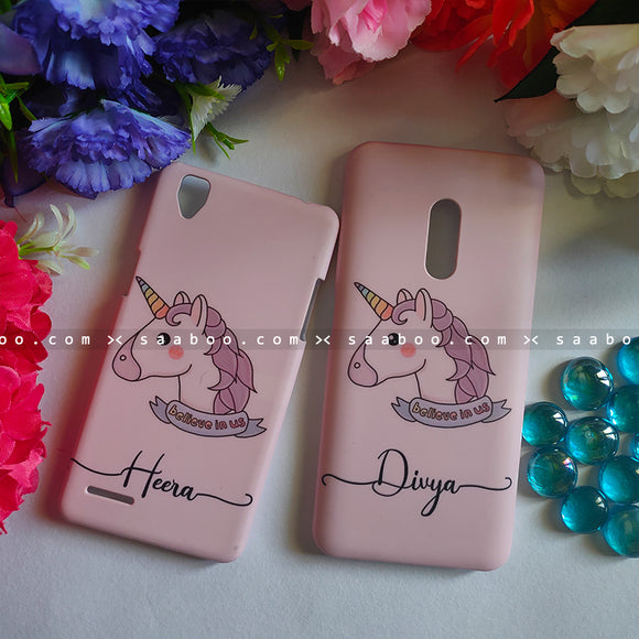 Couple Cases Pink Unicorn Name Cases