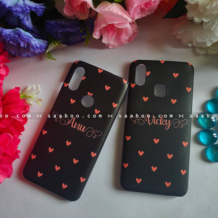 Couple Cases Peach Hearts Name Cases