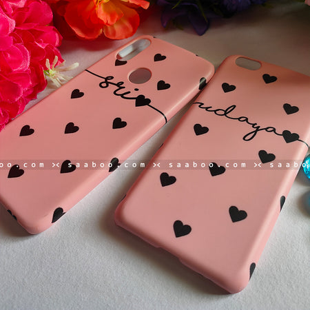 Couple Cases Peach Case Black Name
