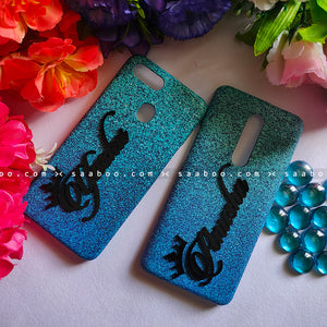 Couple Cases Blue Glitter 4D Name Case