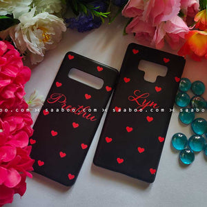 Red Hearts in Black Case with Name for BFF Goals and Couple Goals
