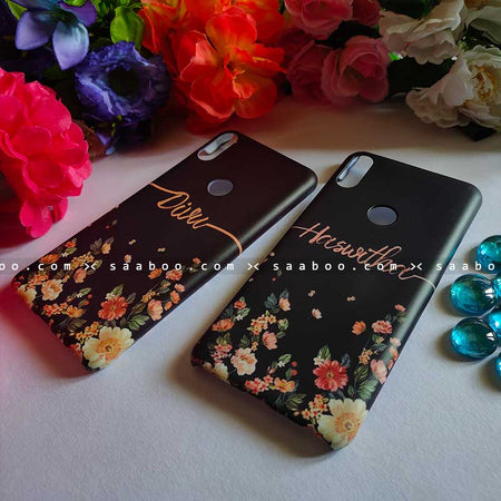 Black Floral Case with Name for BFF Goals and Couple Goals