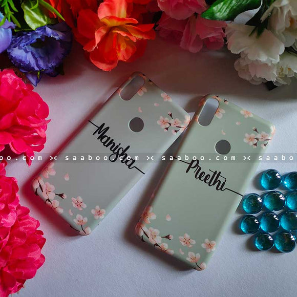 Light Grey Floral Case with Name for BFF Goals and Couple Goals