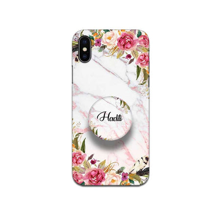 Gripper Case With White Marble Floral Name