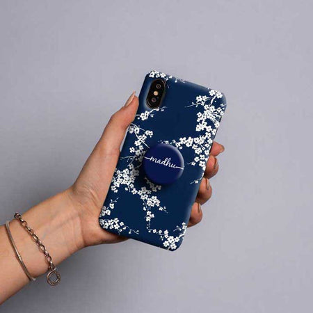 Gripper Case With Dark Blue & white Floral