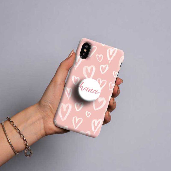 Gripper Case With Pink & White Hearts