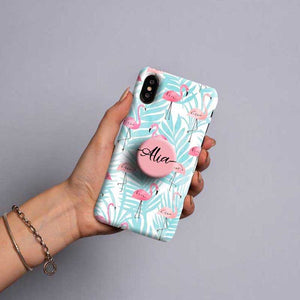 Gripper Case With Blue & Pink Flamingo