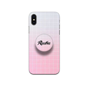 Gripper Case With White Peach Gradient Checked Name