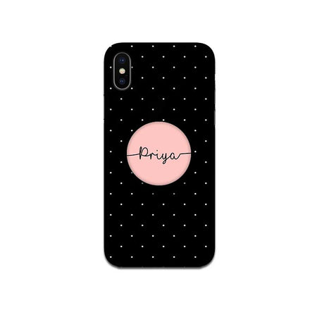 Gripper Case With Black Dots Peach Name