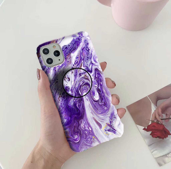 Gripper Case With Purple Marble Pattern