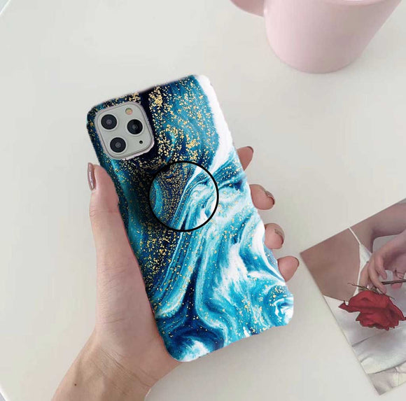 Gripper Case With Golden Peacock Marble Pattern