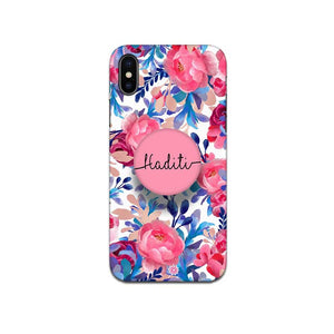 Gripper Case With Blue Pink Floral Name