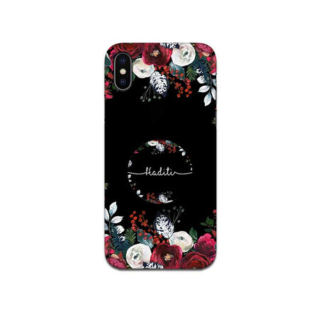 Gripper Case With Black Floral Name
