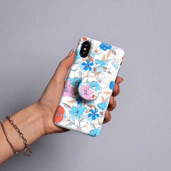Gripper Case With Blue White Floral