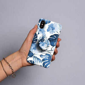 Gripper Case With Blue Floral Leaf