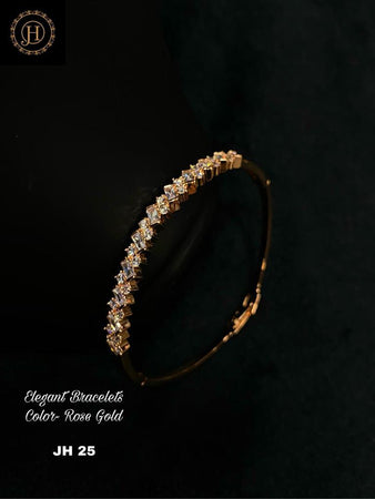 Rose Gold Plated Bracelet with stone Work