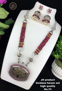 Oxidised red and white stone long Neckpiece with earring set
