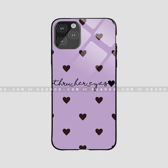 Glass Case With Purple Color And Black Heart Name