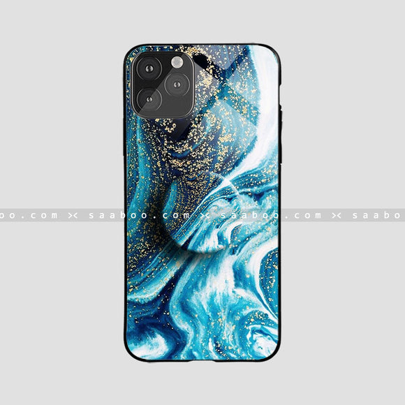 Glass Case With Space Blue Wave