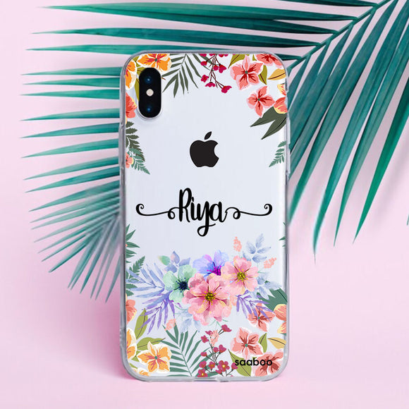 Transparent Silicone case with Florals Name