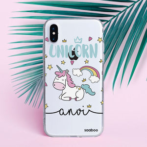 Transparent Silicone case with Unicorn Stars Name