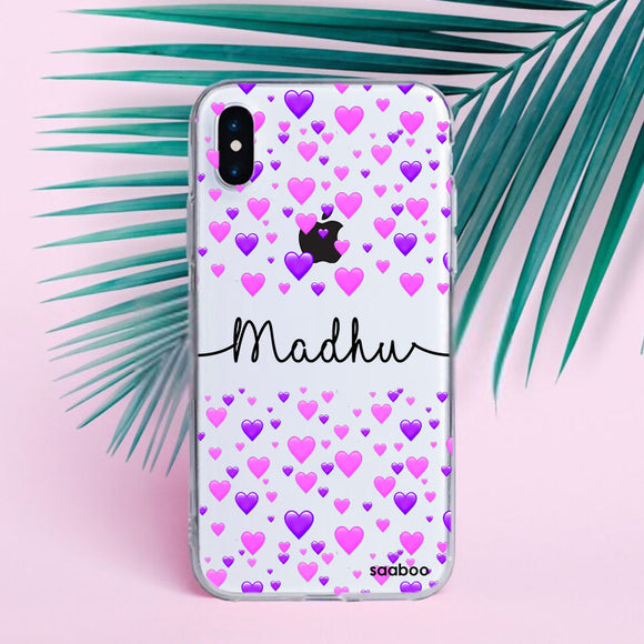 Transparent Silicone case with Hearts Name