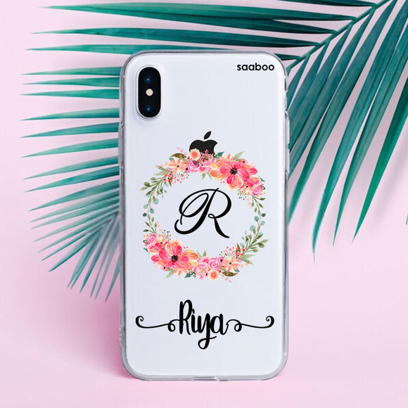 Transparent Silicone case with Round Floral Name