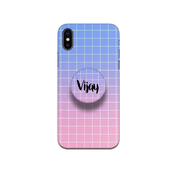 Gripper Case With Blue Pink Gradient Checked Name