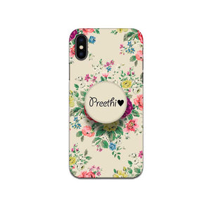 Gripper Case With Light Brown Floral Name