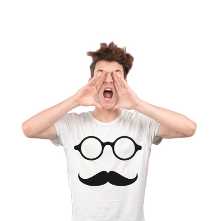Glass with mustache White Unisex T-Shirt
