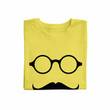 Glass with mustache yellow Unisex T-Shirt