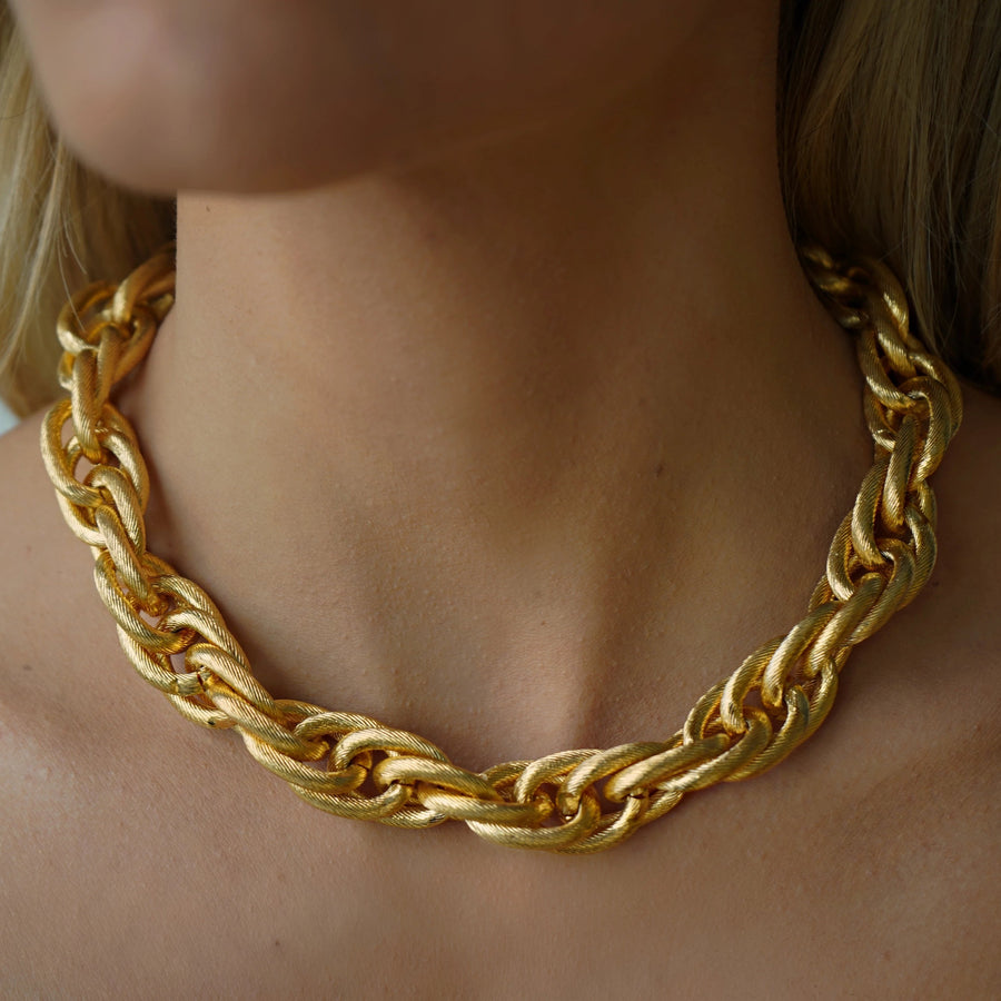 Gold chunky link chain necklace vintage
